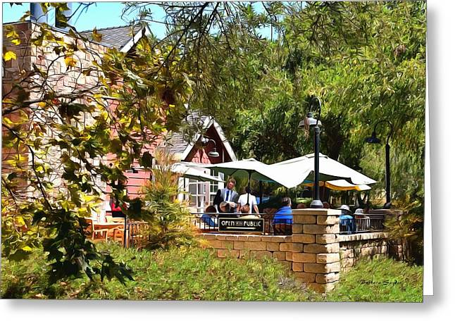 Patio Dining Moonstone Marketplace Greeting Card by Barbara Snyder