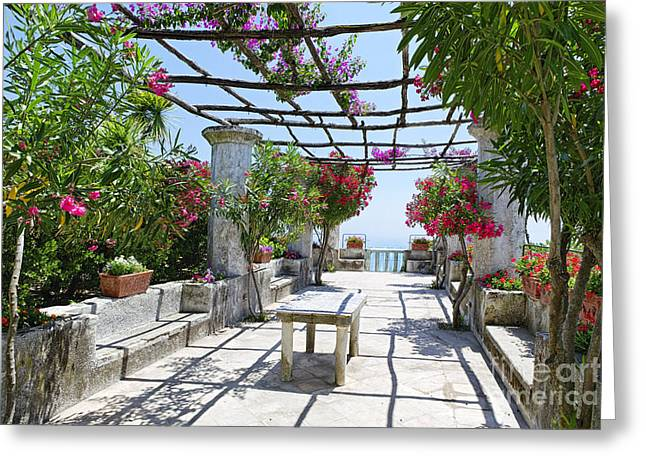Trellis Greeting Cards - Patio Garden in Ravello Greeting Card by George Oze
