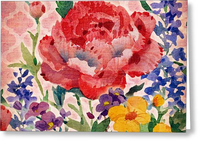 Patio Greeting Cards - Patio Peony II Greeting Card by Paul Brent