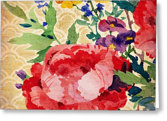 Patio Greeting Cards - Patio Peony IV Greeting Card by Paul Brent