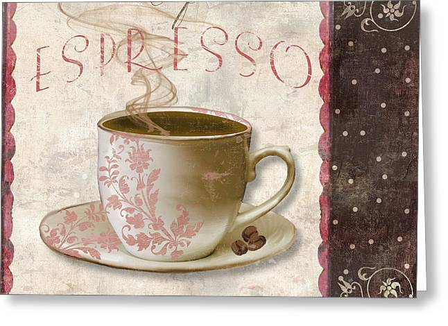 Chocolate Cake Greeting Cards - Patisserie Cafe Espresso Greeting Card by Mindy Sommers