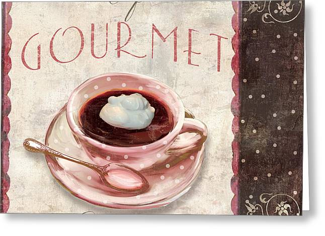Croissant Greeting Cards - Patisserie Cafe Gourmet Coffee Greeting Card by Mindy Sommers