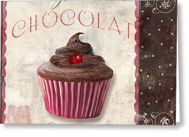 Capuccino Greeting Cards - Patisserie Chocolate Cupcake Greeting Card by Mindy Sommers