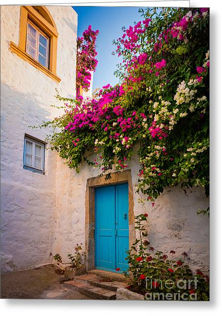 Mediterranean Landscape Greeting Cards - Patmos Bougainvillea Greeting Card by Inge Johnsson
