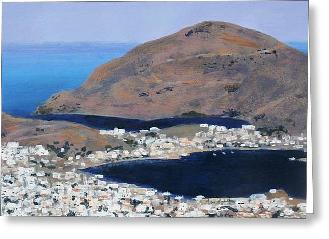 Testament Greeting Cards - Patmos the Habour Greeting Card by Nigel Radcliffe
