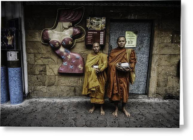 Monk-religious Occupation Greeting Cards - Patpong Monks Greeting Card by David Longstreath