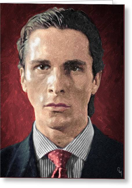 Christian Bale Greeting Cards - Patrick Bateman - American Psycho Greeting Card by Taylan Soyturk