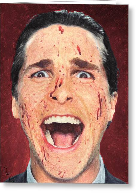 Wall Street Greeting Cards - Patrick Bateman Greeting Card by Taylan Soyturk