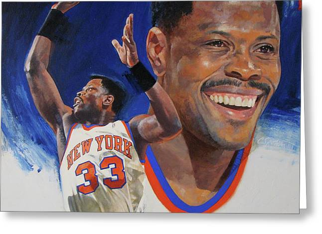 Patrick Ewing Greeting Card by Cliff Spohn