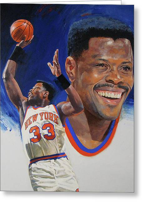 Recently Sold -  - Knicks Greeting Cards - Patrick Ewing Greeting Card by Cliff Spohn