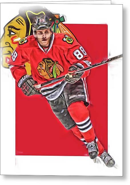 Patrick Kane Chicago Blackhawks Oil Art Series 3 Greeting Card by Joe Hamilton