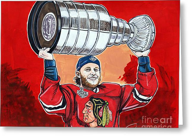 Nhl Hockey Drawings Greeting Cards - Patrick Kane Stanley Cup Champion 2015 Greeting Card by Dave Olsen