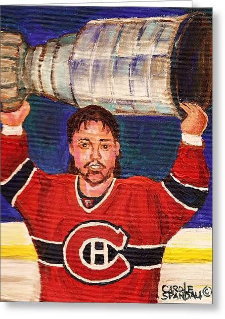 Hockey Memorabilia Greeting Cards - Patrick Roy Wins The Stanley Cup Greeting Card by Carole Spandau