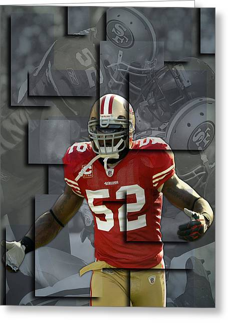 Patrick Willis Greeting Cards - Patrick Willis San Francisco 49ers Blocks Greeting Card by Joe Hamilton