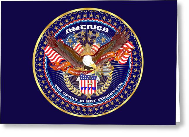 Patriotic America Mixed Designs W-transparent Back Pick Your Color Greeting Card by Bill Campitelle