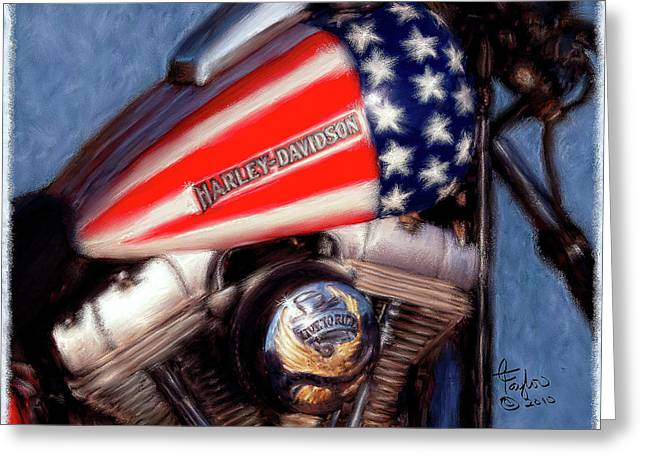 Motorcycles Mixed Media Greeting Cards - Live to Ride Greeting Card by Colleen Taylor
