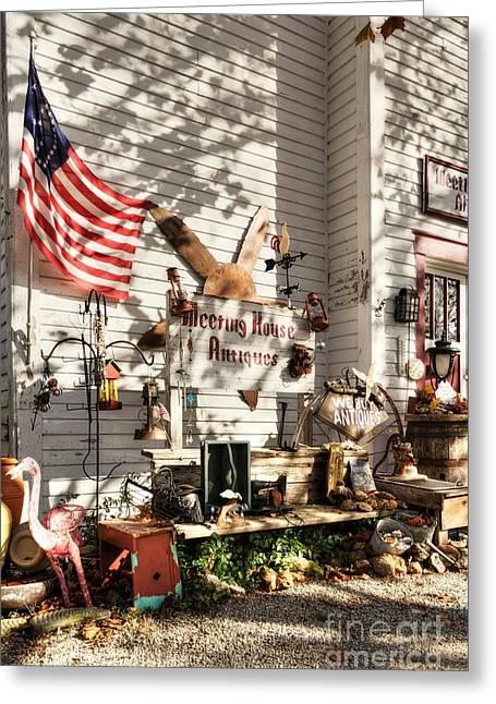 Patriotic Antiques In Metamora Greeting Card by Mel Steinhauer