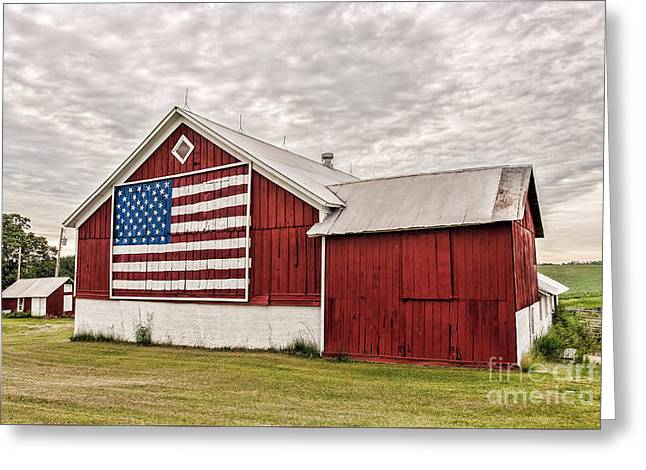 Red Roofed Barn Greeting Cards - Patriotic Barn Greeting Card by Trey Foerster