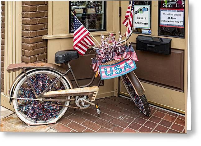 Store Fronts Greeting Cards - Patriotic bike Greeting Card by Cindy Archbell