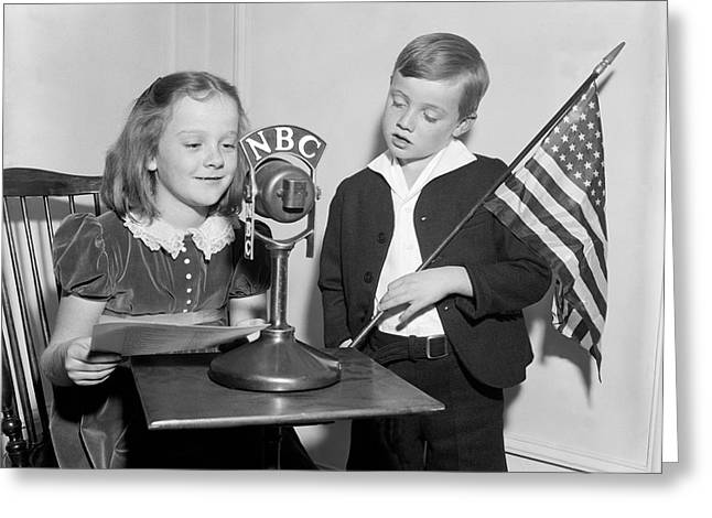 Microphone Stand Greeting Cards - Patriotic Broadcast Greeting Card by Harris & Ewing