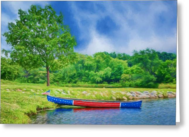 Canoe Photographs Greeting Cards - Patriotic Canoe #2 - Red White Blue Greeting Card by Nikolyn McDonald