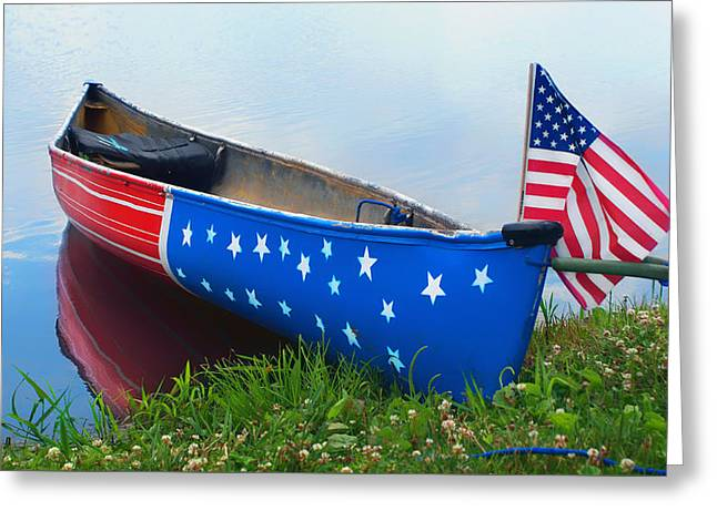 4th July Greeting Cards - Patriotic Canoe 3 - 4th of July Greeting Card by Nikolyn McDonald