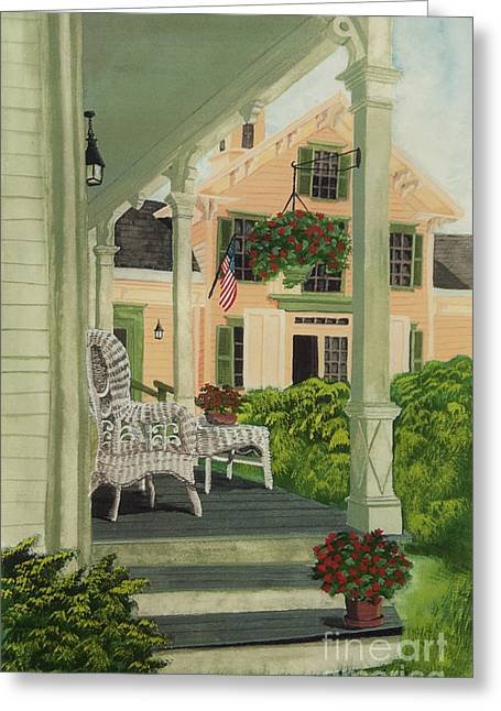 Wicker Furniture Greeting Cards - Patriotic Country Porch Greeting Card by Charlotte Blanchard