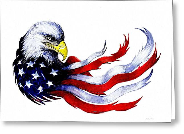 Flag Of Usa Greeting Cards - Patriotic eagle signed Greeting Card by Andrew Read