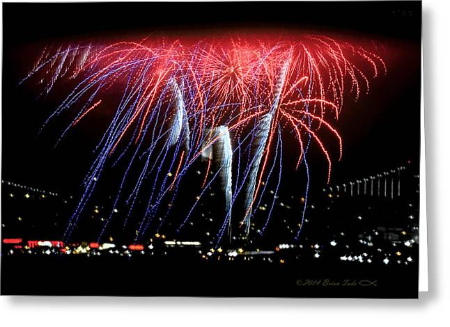 4th July Greeting Cards - Patriotic Fireworks S F Bay Greeting Card by Brian Tada