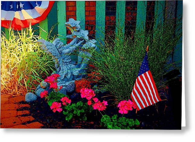 Best Sellers -  - Garden Statuary Greeting Cards - Patriotic Garden Greeting Card by Christine S Zipps