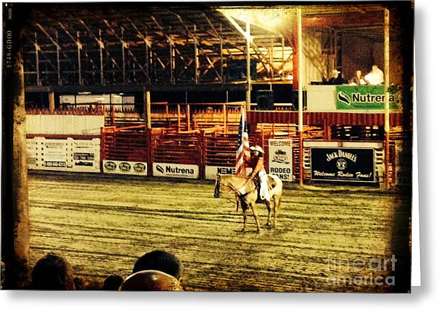 Patriotic Rodeo Cowgirl And The American Flag Greeting Card by Jason Freedman