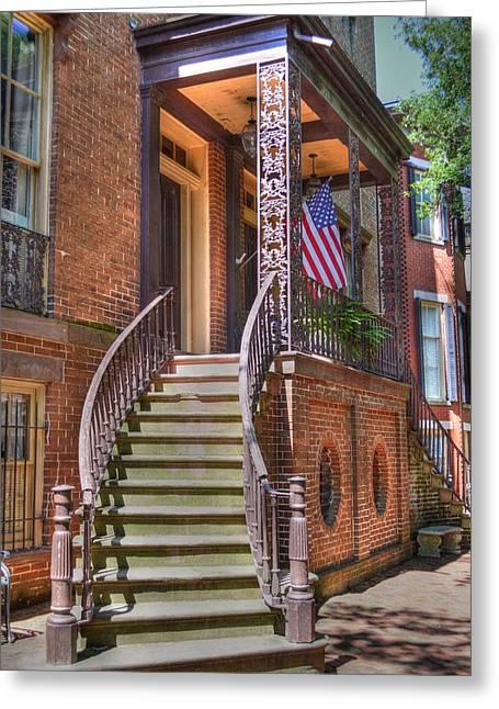 Patriotic Savannah Greeting Cards - Patriotic Jones Street Greeting Card by Linda Covino