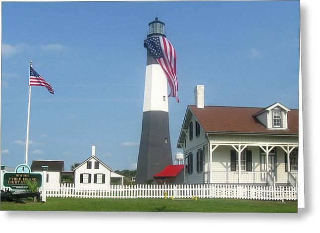 Patriotic Savannah Greeting Cards - Patriotic Lighthouse Greeting Card by Juliana  Blessington