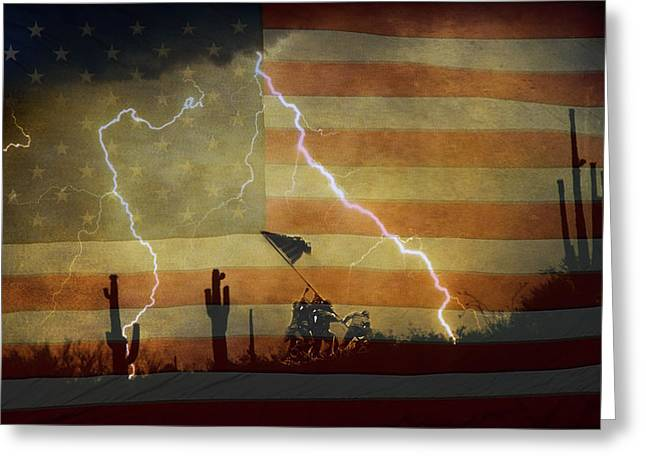 Americano Greeting Cards - Patriotic Operation Desert Storm Greeting Card by James BO  Insogna