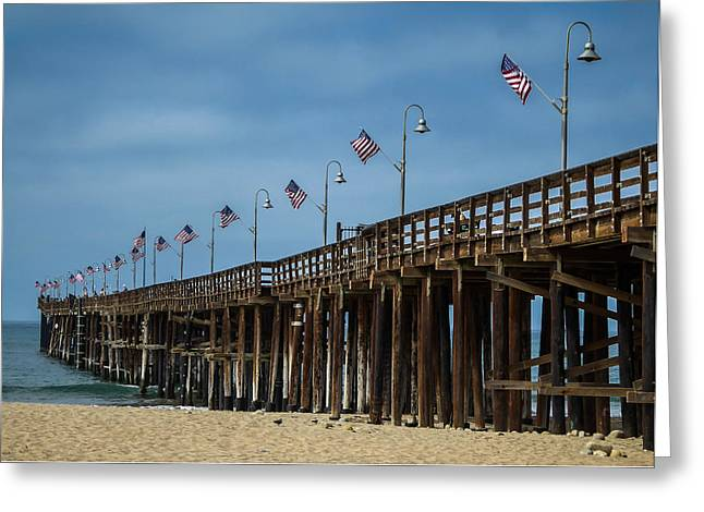 California Ocean Photography Greeting Cards - Patriotic Pier Greeting Card by Pamela Newcomb