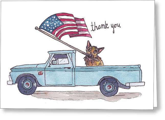 Patriotic Puppy Card Greeting Card by Katrina Davis