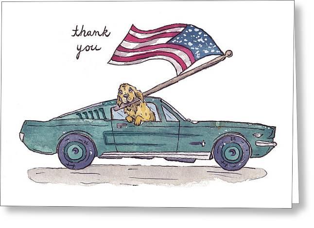 Patriotic Puppy Thank You Card Greeting Card by Katrina Davis