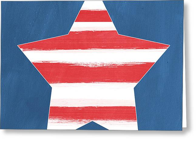 Firework Greeting Cards - Patriotic Star Greeting Card by Linda Woods