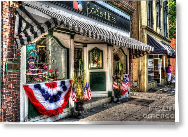 4th July Greeting Cards - Patriotic Street Greeting Card by Debbi Granruth