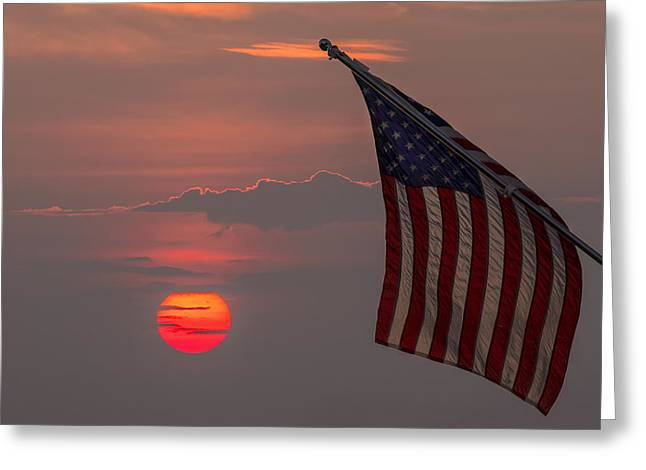Cloth Greeting Cards - Patriotic Sunset Greeting Card by Mark Papke