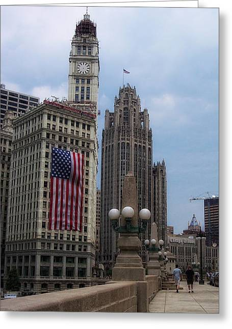 Flags Flying Greeting Cards - Patriotic View Greeting Card by Donna Blackhall