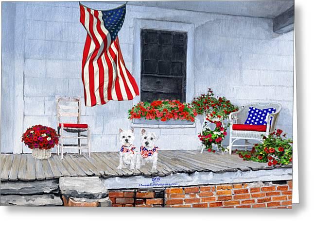 Patriotic Westies Greeting Card by Ann Kallal
