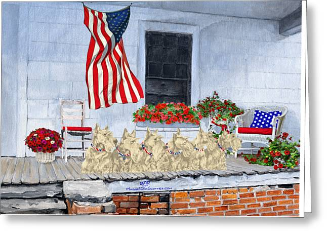 Scotty Dog Greeting Cards - Patriotic Wheaten Scotties Greeting Card by Ann Kallal
