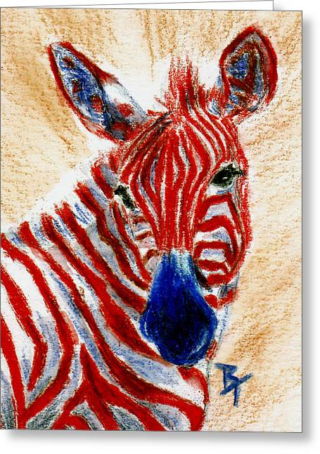 4th July Paintings Greeting Cards - Patriotic Zebra aceo Greeting Card by Brenda Thour