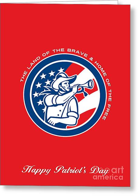 Patriots Day Greeting Card American Cavalry Soldier Blowing Bugle Greeting Card by Aloysius Patrimonio