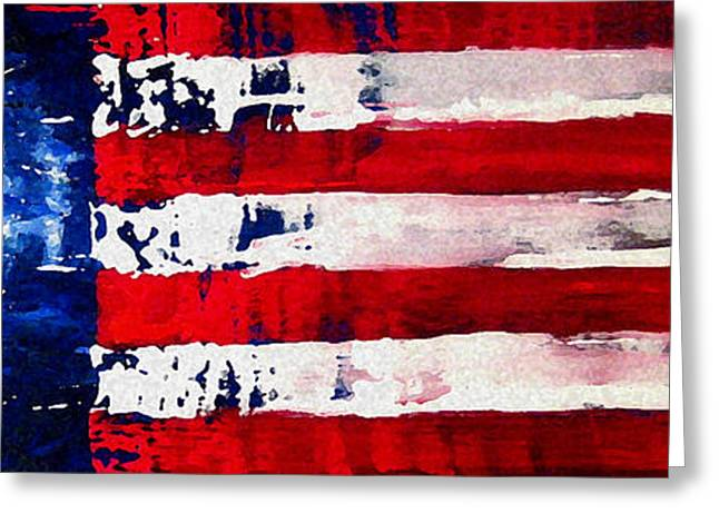 Independence Day Mixed Media Greeting Cards - Patriots Theme Greeting Card by Charles Jos Biviano