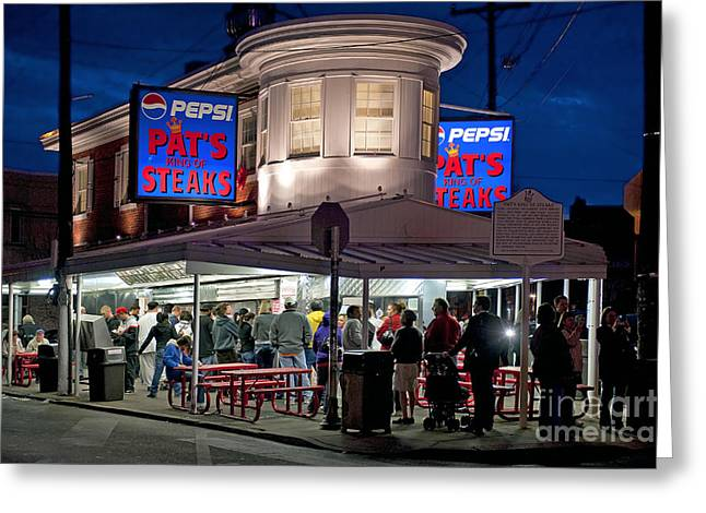 Pat's Steaks Greeting Card by John Greim