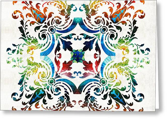 Pattern Art - Color Fusion Design 7 By Sharon Cummings Greeting Card by Sharon Cummings