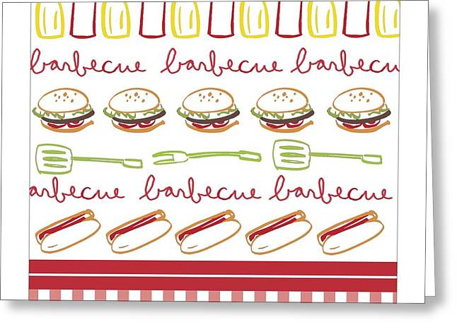 Hotdogs Greeting Cards - Pattern With Barbecue Lettering, Hot Greeting Card by Gillham Studios