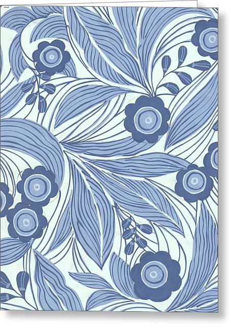 Pattern Greeting Cards - Pattern With Blue Leaves, Flowers Greeting Card by Gillham Studios